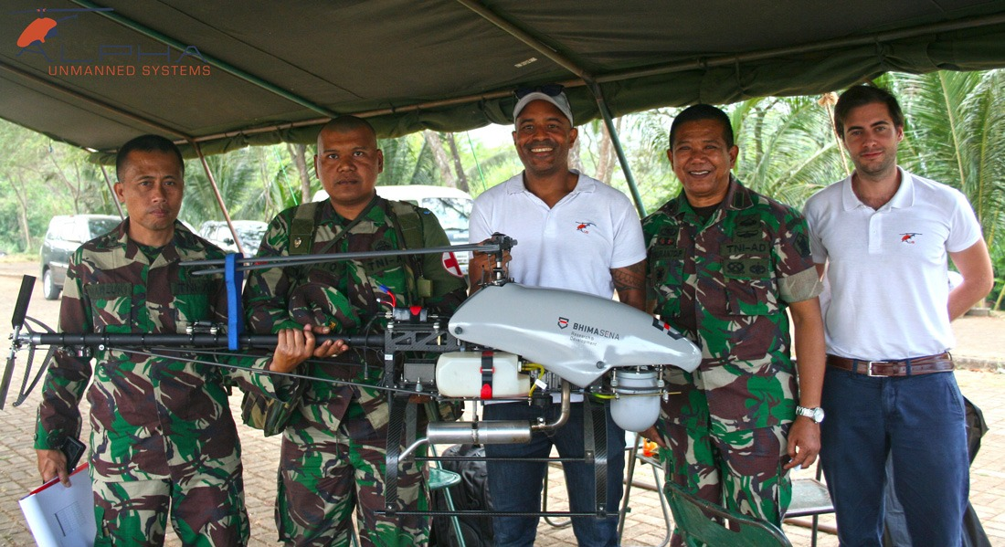 Indonesian Army members with a UAV