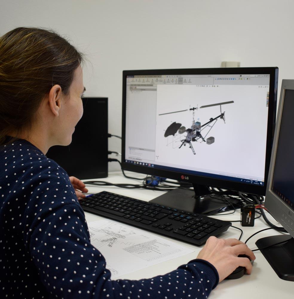 Engineer working on design